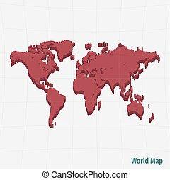 röd, världen kartlägger