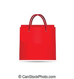 röd, väska