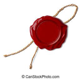 röd, vax försegla, eller, stämpel, isolerat