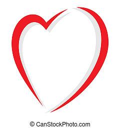 röd, vektor, hjärta