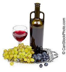 röd vin flaska, glas, och, druvor, -, stilleben