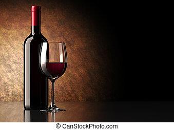 röd vin, flaska, med, glas
