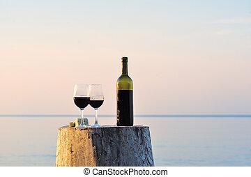 röd vin, flaska, och, vin glasögon