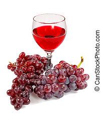 röd vin glas, och, druvor, klungen
