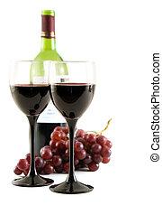 röd vin, och, druvor