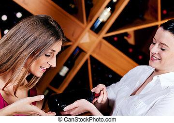 röd vin, servitris, erbjudande, restaurang