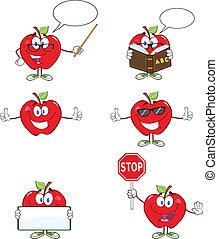 röda äpplen, tecken, 1, kollektion