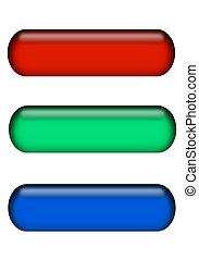 röda gröna, och blåa, knapp, bommar för