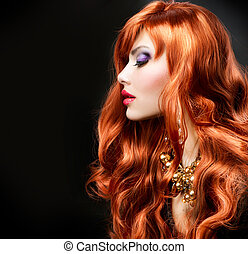 röda haired, flicka, stående, över, svart