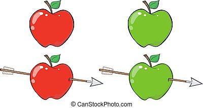 röda och gröna, äpple, med, pil