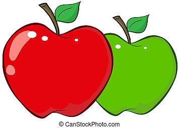 röda och gröna, äpplen