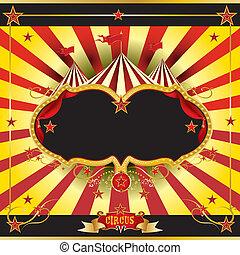 röda och gula, cirkus, broschyr