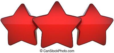 röda stjärna, formar, tre, en, a, rad