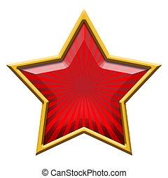 röda stjärna, in, guld