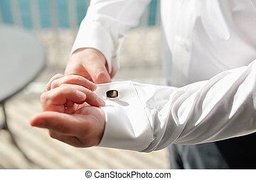 rögzítő, cufflinks, lovász, nap, esküvő