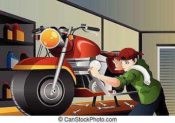 rögzítő, motorkerékpár, ember