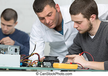 rögzítő, technológia, feldolgozás, számítógép, diák
