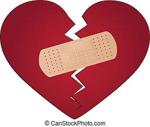 rögzít, egy, megtört szív, fogalom