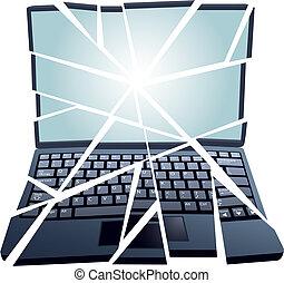 rögzít, rendbehozás, törött, laptop computer, alatt, darabok