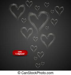 röka, in, den, bilda, av, heart., vektor, abstrakt, bakgrund
