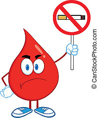 rökning, droppe, underteckna, blod, nej