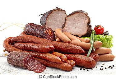 rökt, kött, och, korvar, salami