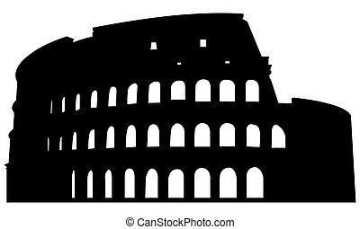 römisches amphitheater, silhouette