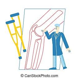 röntga, sjukvård, tecken, appointment., vektor, orthopedist...