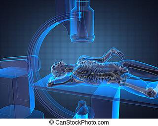 röntgenaufnahme, prüfung, gemacht, in