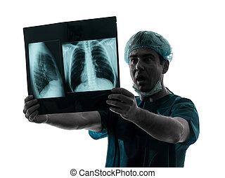 röntgenaufnahme, silhouette, lunge, untersuchen, doktor, ...