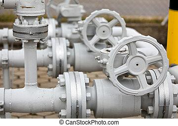 rör, rörledning, industriell, gas