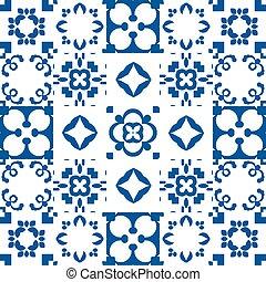 röra, style., blå, keramisk, tiles., vit