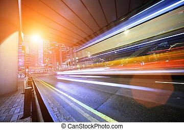 rörelse, fortkörning, buss, suddig