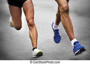 rörelse, -, maratonlopp gångmatta, suddig