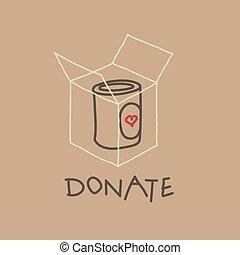 rörelse, mat, färd, illustration, vektor, välgörenhet
