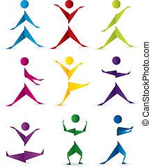 rörelse, origami, folk