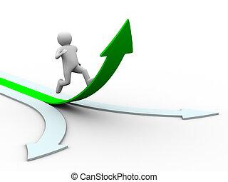 rörelse, riktning, till, success., isolerat, 3, avbild