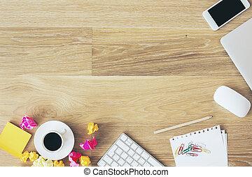 rörig, bord, kontor