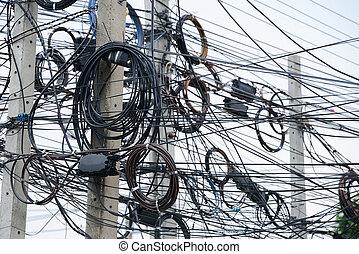 rörig, elektrisk, kablar