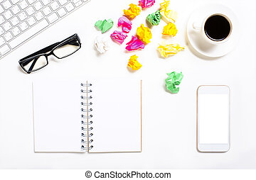 rörig, redskapen, kontor, skrivbord