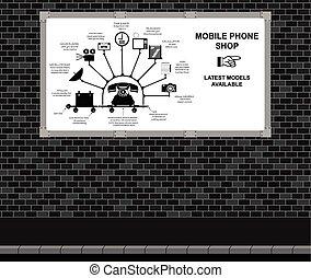rörlig telefonera, annonsering, butik, bord