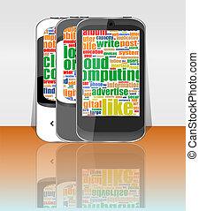 rörlig telefonera, anslutning, cloud-computing, smart