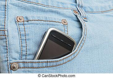 rörlig telefonera, ficka, jeans