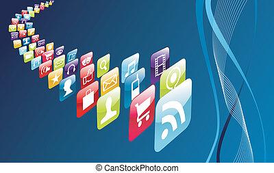 rörlig telefonera, global, apps, ikonen