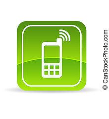 rörlig telefonera, grön, ikon