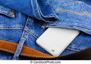 rörlig telefonera, i rygg, ficka, av, blåbyxor