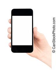 rörlig telefonera, isolerat, smart, hand