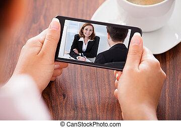 rörlig telefonera, kvinna, video conferencing