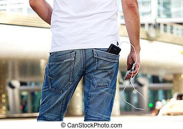 rörlig telefonera, med, batteri, packe, i rygg, ficka