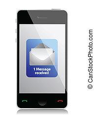 rörlig telefonera, meddelande, nymodig, unread